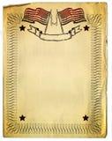 American Patriot Border design on old Broken Paper Stock Image