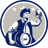 American Patriot Carry Beer Keg Circle Retro Royalty Free Stock Photography