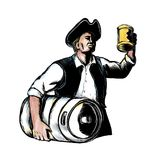 American Patriot Carry Beer Keg Scratchboard Stock Photo