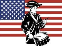 American patriot drummer. Vector illustration of a American patriot drummer with flag in woodcut retro style royalty free illustration