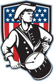 American Patriot Drummer With Flag. Illustration of an American patriot minuteman revolutionary soldier drummer with drums and stars and stripes flag set inside Stock Photo