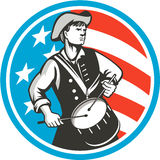 American Patriot Drummer USA Flag Circle Retro. Illustration of an american patriot drummer looking to the side viewed from front, set inside circle with usa Stock Image