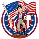 American Patriot Emblem. Glossy Shiny American Patriot Emblem Icon Collection Set royalty free illustration