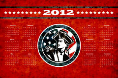 American Patriot Flag Poster Calendar 2012. Poster calendar 2012 showing American Patriot Minuteman with USA stars and stripes flag done in retro style vector illustration