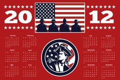 American Patriot Flag Poster Calendar 2012. Poster calendar 2012 showing American Patriot Minuteman and soldiers with USA stars and stripes flag done in retro vector illustration
