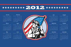 American Patriot Flag Poster Calendar 2012. Poster calendar 2012 showing American Patriot Minuteman with USA stars and stripes flag done in retro style stock illustration