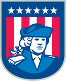 American Patriot Head Bust Shield Retro Royalty Free Stock Images