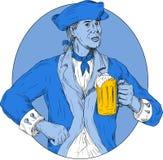 American Patriot Holding Beer Mug Oval Drawing Royalty Free Stock Photo