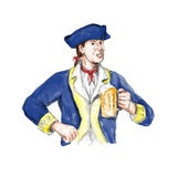 American Patriot Holding Beer Mug Toast Watercolor Royalty Free Stock Images
