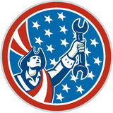 American Patriot Holding Spanner Circle Retro Royalty Free Stock Images