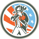 American Patriot Holding Wrench Circle Retro. Illustration of an american mechanic patriot holding wrench spanner set inside circle with usa stars and stripes in stock illustration