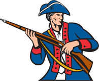 American Patriot Militia Musket Retro. Illustration of an american patriot militia carrying musket looking to the side set on isolated white background done in Royalty Free Stock Photo