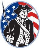 American Patriot Minuteman With Bayonet. Illustration of an American patriot minuteman revolutionary soldier with musket bayonet rifle and stars and stripes flag Royalty Free Stock Photo