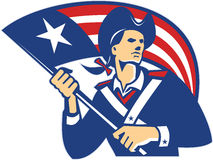 American Patriot Minuteman With Flag Retro vector illustration