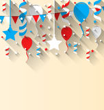 American patriotic background with balloons, streamer, stars. Illustration American patriotic background with balloons, streamer, stars and pennants, in US Royalty Free Stock Photo