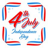 American Independence day poster template, 4th July background. Ribbon flags and stars. American patriotic background, Independence day 4 th july. Vector royalty free illustration