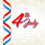 American Independence day poster template, 4th July background. Ribbon flags and golden glitter confetti. American patriotic background, Independence day 4 th Royalty Free Illustration