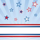 American Patriotic Banner. An American patriotic background of stars with a blank banner with stripes. Red, white and blue Royalty Free Stock Image