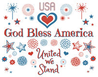 American Patriotic Clipart  on White. Red, white & blue American themed patriotic clipart  on a solid white background Royalty Free Stock Photo
