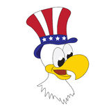 American patriotic eagle with hat on his head. Funny cartoon illustration of American eagle Royalty Free Stock Image
