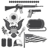 American patriotic elements set. Weapons, armor, flag, seal. Typographic labels,stickers, logos and badges. Royalty Free Stock Photos
