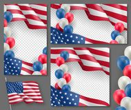 American patriotic festive posters set. Realistic waving american flag and colorful air balloons on transparent background. Independence and freedom vector Stock Photo