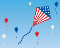 An American Patriotic Kite with Balloons Stock Photos