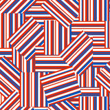 American patriotic seamless pattern. Geometric  pattern  by striped rectangles.  American patriotic seamless background  in red, blue and white colors Royalty Free Stock Photos