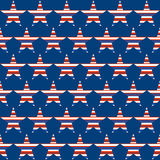 American patriotic seamless pattern with stars. Geometric  pattern  by striped stars.  American patriotic seamless vector  background  in red, blue, and white Stock Photography