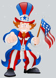 American Patriotic Uncle Sam. Vector Illustration of Happy Cartoon Uncle Sam Expression and Holding American Flag on 4th of July stock illustration