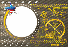 American patriotic vector photo frame in a military. Style with grunge effect objects royalty free illustration