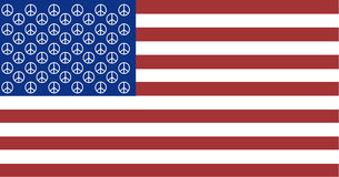 American Peace Flag with 50 Peace Signs Stock Image