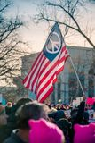 American Peace Flag at the Womans March. Flag fly`s during the Woman`s March January in Denver Colorado stock photo