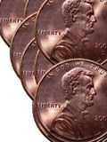 American pennies. Closeup of American pennies on white background Royalty Free Stock Image