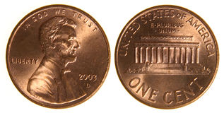 American Penny from 2003. Both sides of a (2003) US penny, isolated on a white background Stock Photos