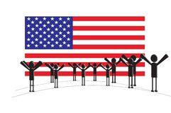 American people. Happy american people with the american flag. background Stock Image