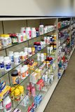 American pharmacy, over-the-counter. The abundance of choice on the shelves of the non-prescription medications section of an American pharmacy stock photography