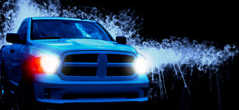 American Pickup car close-up. In darkness Royalty Free Stock Photo