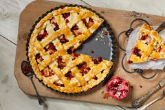 American pie. With apple,foxberry and pomegranate seeds ingredient Royalty Free Stock Photography