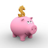American piggy bank. A golden Dollar in a pink piggy bank (3D rendering) - A clipping path is embedded to isolate the subject (no shadow vector illustration
