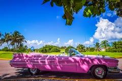 Amerikanischer pink Cabriolet Oldtimer in Varadero Cuba. American pink Cabriolet Oldtimer in Varadero Cuba - Serie Cuba Reportage Stock Images