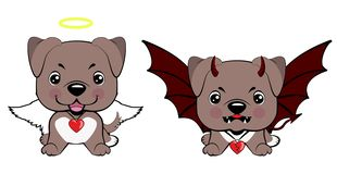 Devil Dog with horns and bat wings and happy dog angel. American pitbull terrier. Devil Dog with horns and bat wings and happy dog angel vector illustration