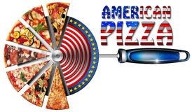 American Pizza on Cutter for Pizza Stock Image