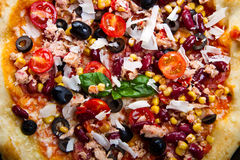 American pizza with tuna, red beans and mais Royalty Free Stock Photo