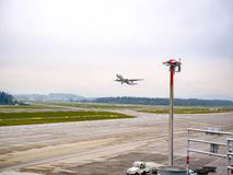American Plane takeoff at Zurich Airport stock image