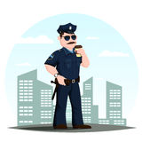 American police officer or patrolmen with coffee Royalty Free Stock Photos