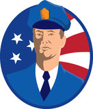 American Police Officer Policeman Flag Retro Royalty Free Stock Image