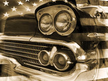 American police retro. American retro police car and flag of the USA on background in vintage style Stock Image
