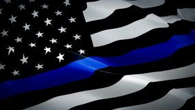 American police waving flag. National 3d Thin Blue Line flag waving. Sign of American police seamless loop animation. Thin Blue Li
