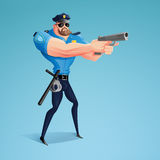 An American policeman is aiming his gun at the alleged offender. A modern design of the character. A  illustration Stock Photo